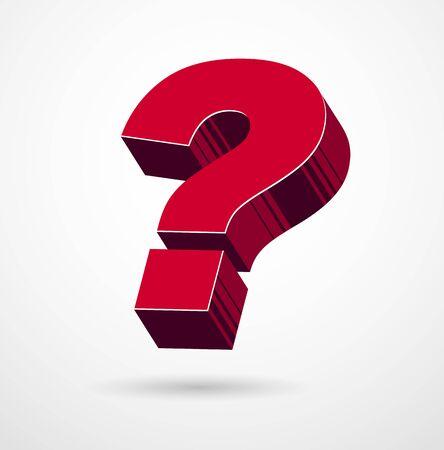 3D question mark query symbol vector icon, design element. Çizim