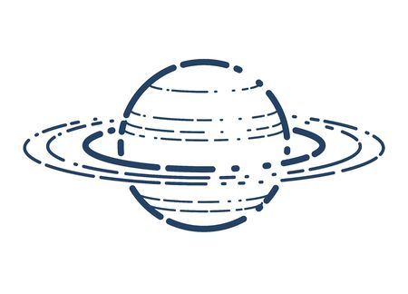 Unknown planet with satellites vector linear icon, space science or fiction literature symbol.