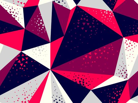 Abstract messy chaotic triangles seamless vector background, particles design pattern for wallpaper or print or textile or wrapping paper. Иллюстрация
