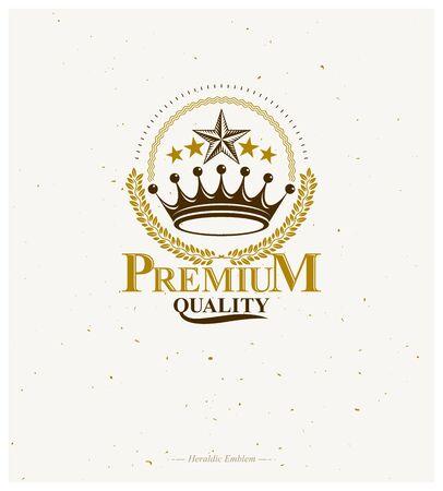 Royal Crown emblem. Heraldic Coat of Arms decorative logo isolated vector illustration. Retro logotype in old style on white background. Ilustração