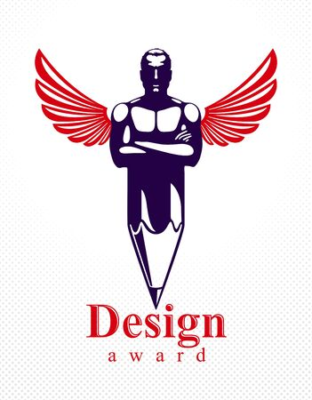 Strongman muscle man combined with pencil and wings into a symbol, strong design concept, creative power allegory, vector perfect classic style logo or icon. Logó