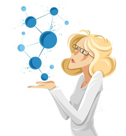 Woman scientist discovering micro elements such as molecules or atoms vector conceptual illustration, neuroscience allegory, laboratory research.