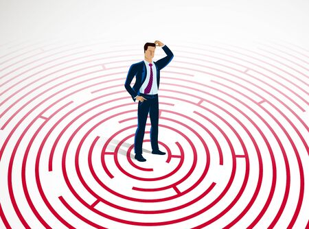 Confused young handsome businessman in the center of radial labyrinth trying to find way out vector illustration, business strategy, problem solution.