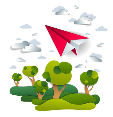 Origami paper plane toy flying in the sky over meadows and trees, perfect vector illustration of scenic nature landscape with toy jet take off and grasslands, airlines air travel theme.
