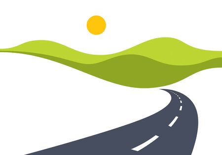 Country road curved highway vector perfect design illustration. The way to nature, hills and fields camping and travel theme. Can be used as a road banner or billboard with copy space for text. Vector Illustration
