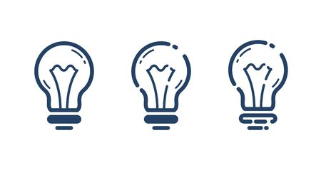 Light bulbs set idea vector simple linear icon, science and business line art symbol, creative solutions.
