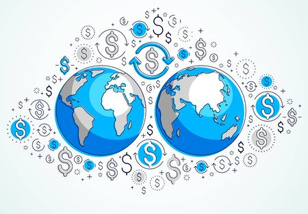 Global business concept, planet earth with dollar icons set, international economy, currency exchange, internet global network connection, vector, elements can be used separately. 일러스트