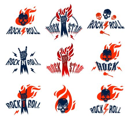 Rock hand sign on fire set, hot music Rock and Roll gesture in flames, Hard Rock festival concert or club, vector labels emblems or logos, musical instruments shop or recording studio.