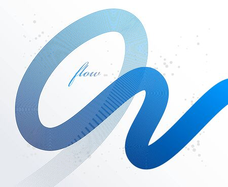 Blue 3D lines in motion dimensional vector abstract background, elegant curvy light stripy design element, template for banner or poster and other ads.