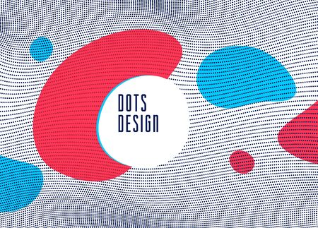 Dots mesh grid particles flow abstract vector background, modern trendy style dotted rhythmic abstraction, science and technology theme illustration.