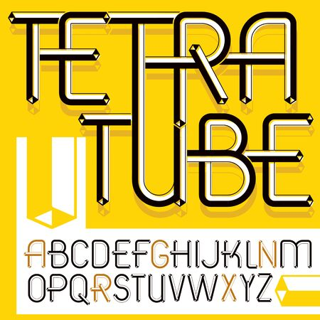 Set of trendy modern vector capital, upper case English alphabet letters isolated. Retro font, typescript for use as business poster design elements. Created using dimensional tetra pipe.