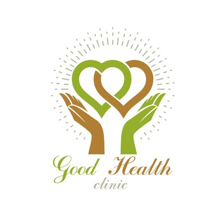 Caring hands holding heart. Alternative medicine concept, vector phytotherapy logo. Strong heart is good health.