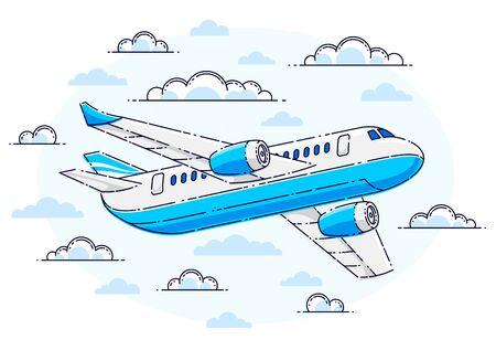 Plane passenger airliner flying in the sky surrounded by clouds, beautiful thin line vector isolated over white background.