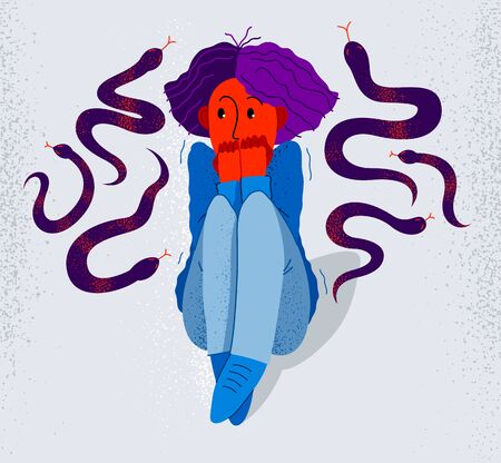 Herpetophobie Angst vor Reptilien Schlangen und Eidechsen Vektorgrafik, Mädchen umgeben von imaginären Reptilien in Panikattacke und Angst, Konzept der psychischen Gesundheit.
