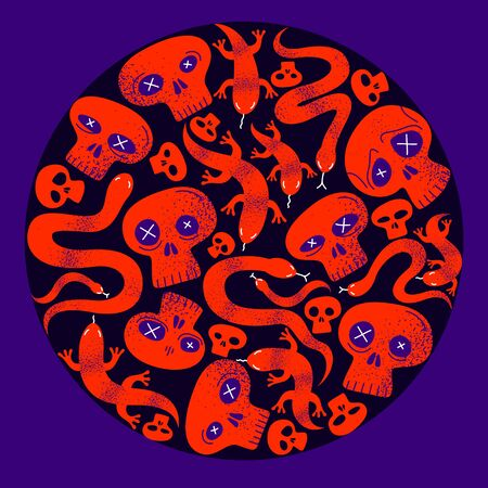 Skulls with lizards and snakes round composition in a circle vector design illustration, death sculls horror and fear theme concept, hard rock subculture style.