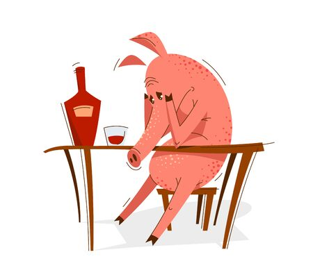 Funny cartoon pig upset and depressed sitting and drinking alcohol vector illustration, animal character swine drawing. Illustration
