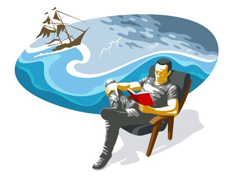 Young man reading adventure book about ocean and sea sailing on a sailboat vector illustration isolated, fiction literature about old times adventures.