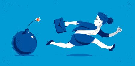 Business woman run from a bomb symbolizes problems such as debt crisis or taxes vector illustration, funny comic cute cartoon businesswoman worker or employee in a rush.