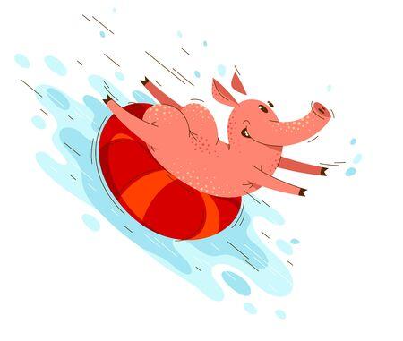 Funny cartoon pig slides on water using ring in aqua park or sea beach summer fun vector illustration, activity happy enjoying animal swine character drawing.