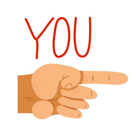 Finger pointing hand with You word vector illustration, hey you, we need you, hiring employee, social request. Illustration