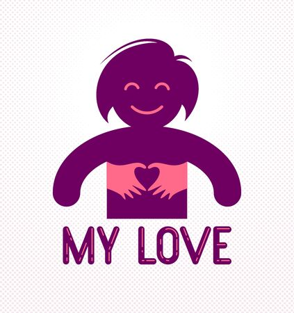 Love arms hugging lover shows heart shape gesture hands, lover woman hugging her mate and shares love, vector icon or illustration in simplistic symbolic style.