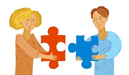 Young couple man and woman with puzzle pieces in their hands are building relationship by matching each other vector illustration, harmony in love.