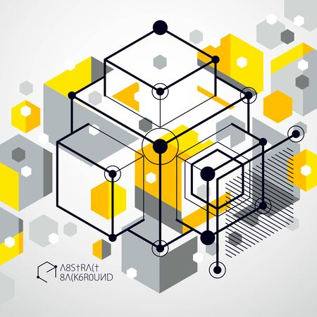 Trend isometric geometric pattern yellow background with bright blocks and cubes. Technical plan can be used in web design and as wallpaper or background. Perfect background for your design projects.
