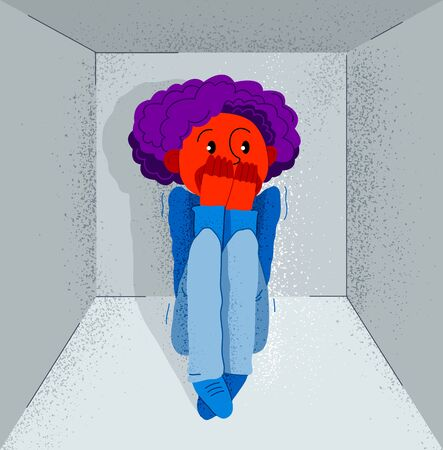 Claustrophobia fear of closed space and no escape vector illustration, boy is closed in small room space and scared in panic attack.