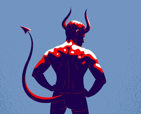 Devil muscular strong man with horns and tail from back view vector illustration, powerful demon, the evil is strong, animal part of human nature, inner beast. Illusztráció