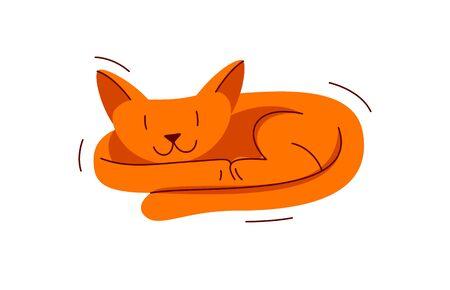 Cute cat sleeping vector illustration, domestic pet cartoon.