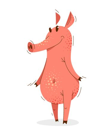 Funny cartoon pig standing adorable and humorous vector illustration, animal character swine drawing. Foto de archivo - 142862562