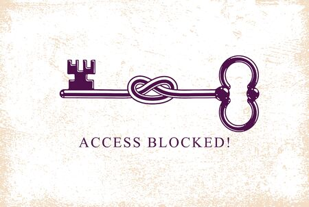 Access Denied, Knotted key allegorical symbol, vintage antique turnkey in a knot, blocked account, personal data protection, hacker and fraud attack, vector.