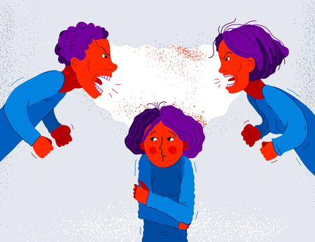 Quarrel between parents make child suffer, little scared girl daughter is a victim because of her father and mother aggressively arguing, vector illustration, domestic violence and abuse.