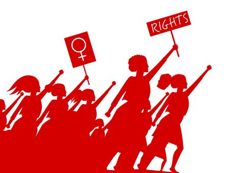 Feminist woman activist leading a crowd of people struggles for rights vector illustration isolated, social justice warriors, girl power. Vettoriali