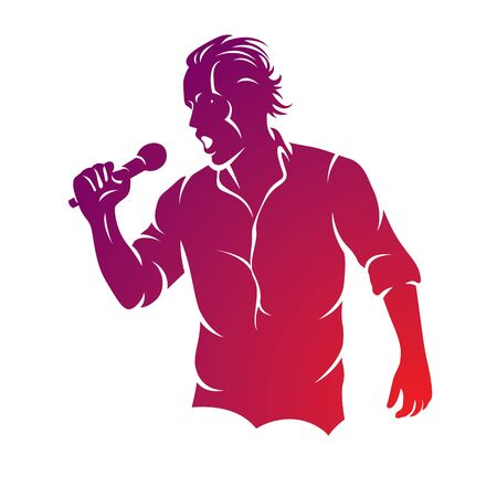 Superstar performance vector illustration, person with microphone in hand is singing live or karaoke. Emcee show concept.