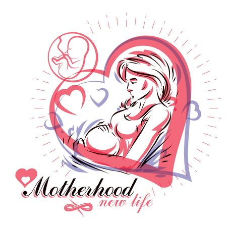Vector hand-drawn illustration of pregnant elegant woman expecting baby, sketch. Reproduction clinic advertising