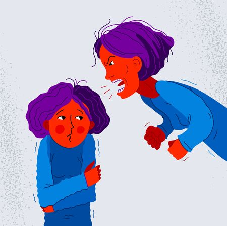 Abusive mother vector illustration, bad mother scream and shout on little scared girl her daughter, domestic violence, victim child, despotic parent, psychological violence abuse.
