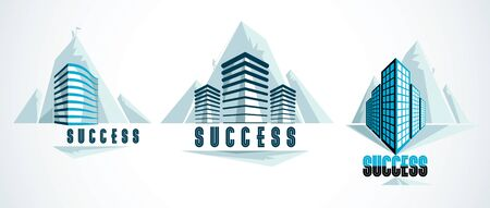 Modern architecture business office building in front of Rock Climber as a concept of career path. Reaching goal of success conceptual illustration. Real estate realty center. Vector designs set.