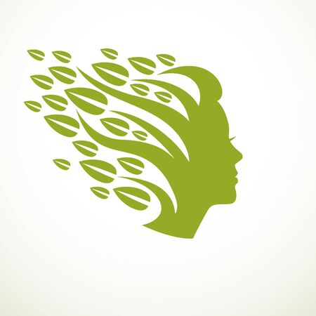 Mother Nature concept, beautiful woman head profile with branches and leaves of natural plant. Vector or icon design. Blossoming and growth of everlasting nature, tree and forest planting. Illustration