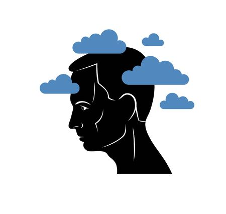 Depression mental health and high anxiety vector conceptual illustration or visualized by man face profile and dark clouds over his head.