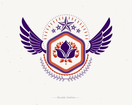 Vintage award design, vintage heraldic Coat of Arms. Vector winged emblem decorated using lily flower, pentagonal stars and laurel wreath