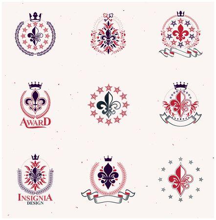 Royal symbols Lily Flowers emblems set. Heraldic vector design elements collection. Retro style label, heraldry. Illustration