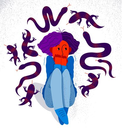 Herpetophobia fear of reptiles snakes and lizards vector illustration, girl surrounded by imaginary reptiles in panic attack and fear, mental health concept.