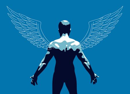 Winged angel with muscular strong body back view vector illustration, guardian angel concept, the power of good, strength of good.