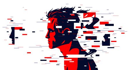 Man profile with glitch dynamic particles in motion vector illustration, mindfulness philosophical and psychological theme, neural network, technology or psychology concept.