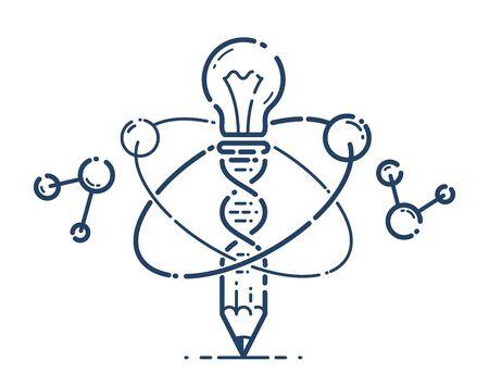 Pencil with light bulb and atom vector simple linear icon, education science physics line art symbol, scientific technology ideas creative solution. Vektoros illusztráció