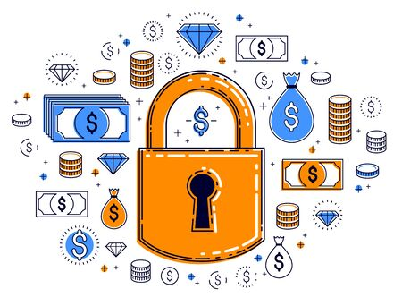 Padlock lock surrounded by dollar money icons set, electronic money protection concept, savings insurance, safe business, personal account password, vector design.