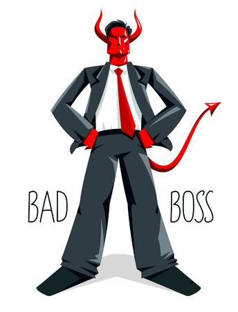 Big boss director with horns like demon or devil stands confident serious and angry vector illustration, bad boss despot and tyrant concept, manager in autocratic control. Vector Illustration