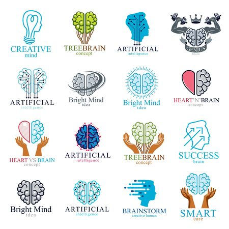 Brain and intelligence vector icons concepts set. Artificial Intelligence, Bright Mind, Brain Training, Feelings soul versus Rational thinking, Creativeness, Brainstorming, Mental Health.