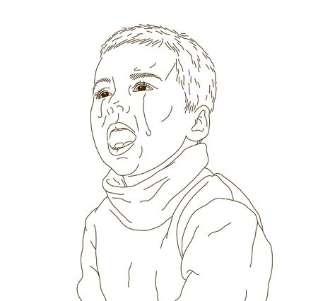 Crying little boy kid unhappy and emotional in tantrum vector illustration, cute child is crying with tears.